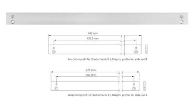 Adaptionsprofil für Gleitschiene B Weiss RAL 9016